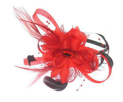 Bright Red looped fascinator headband, Weddings,Ladies Day Ascot Races