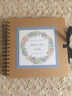 Gorgeous Personalised Wedding Guest Book - Pink and Blue Hydrangeas