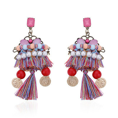 Fashion Women Bohemian Vintage Long Tassel Fringe Boho Dangle Earrings Jewelry