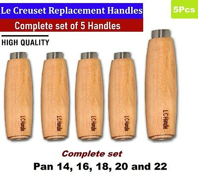 5 x Le Creuset Replacement wooden handles Complete set Pan 14, 16,18, 20 and 22