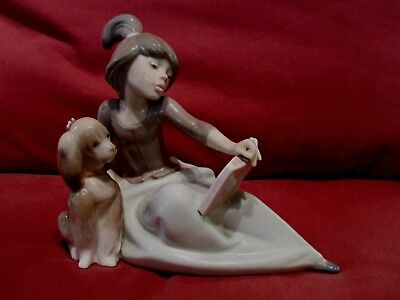 Stunning Retired Lladro Figurine A Lesson Shared 5475 Girl Reading Book With Dog