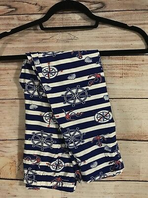 Tall and Curvy Super Soft Capri Leggings Blue White Anchors Sail Away P060N