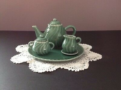 Vintage Child's Tea Set 7 Pc. Green Swirl Ceramic Estate Find
