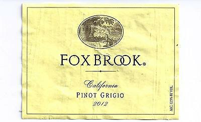Fox Brook Pinot Grigo 2012 Wine Bottle Labels