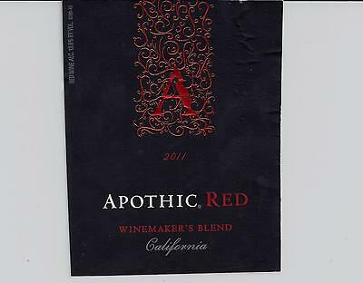 Apothic Red 2011 Wine Bottle Labels