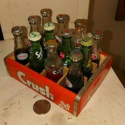 MINIATURE  ORANGE Crush  Wooden Crate with 12 assorted bottles California fresh