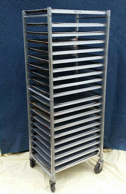 "Win-Holt 20 Tier Commercial Aluminum Sheet Pan Rack with Pans 18"" x 26"" 17017 PA"