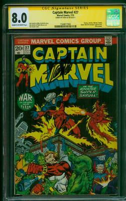 Captain Marvel 27 CGC SS 8.0 Stan Lee Sign 1973 2nd Thanos Infinity War Movie