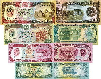 AFGHANISTAN - Lotto 4 banconote 50/100/500/1000 afghanis FDS - UNC