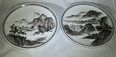 PAIR Antique Vintage Chinese grisaille porcelain plate