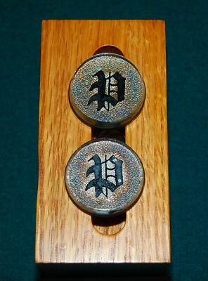 Pair Antique Bridle Rosettes - The Letter P Or D (?)  - With Stamped Patent Date