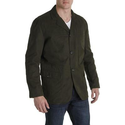 London Fog Heritage Mens Brown Waxed Cotton Insulated Jacket Coat L BHFO 9455