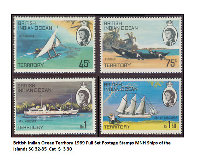 British Indian Ocean Territory 1969 Full Set Postage Stamps MNH Ships of the Isl
