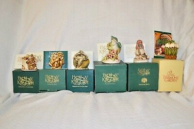 Lot Of 6 Mixed Harmony Kingdom Figurines In Boxes Pre-owned