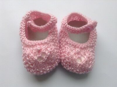Booties Baby Girl Ankle strap Pink wool  Handknitted pretty