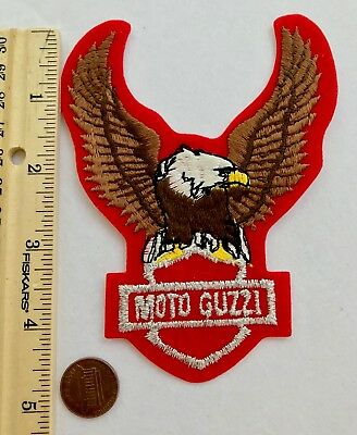 """RARE*MOTO GUZZI MOTORCYCLE PATCH*RED FELT BACKGROUND*EAGLE/WINGS*5""""x3.75"""""""