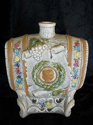 "vintage LIQUOR or WINE DECANTER ceramic pottery faux wood keg cameo 8 1/4"" tall"