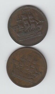 Two Ships, Colonies, & Commerce Tokens, One Blank Reverse