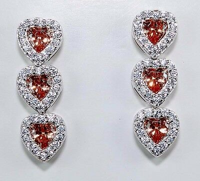 2CT Padparadscha Sapphire & Topaz 925 Sterling Silver Earrings Jewelry