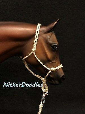 Model horse rope halter and lead rope-Traditional(1:9) size-Cream