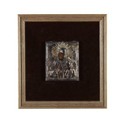 Antique 19th Century Russian Orthodox Icon with 84 Silver Riza/Oklad Moscow 1849