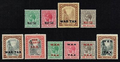 Bahamas 1918-19 War Tax stamps, MH (SG#96/105)