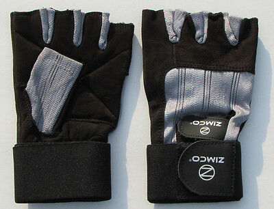 Zimco Weight Lifting Gloves Fitness Mitts Genuine Leather Gloves Black//Blue