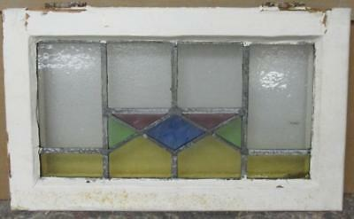 "OLD ENGLISH LEADED STAINED GLASS WINDOW Gorgeous Geometric 22"" x 13.5"""