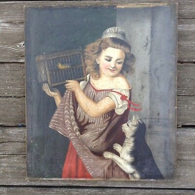 Charming Antique Oil On Canvas Girl With Canary While Cat Looks On