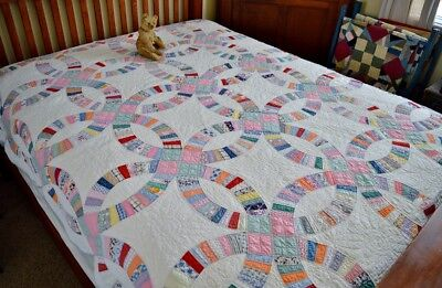 Antique Hand Stitched Calico Wedding Ring Quilt *