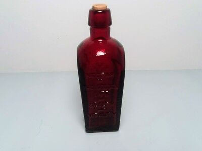 "Mini Wheaton Red Glass Staubmuller's Elixir, Tree of Life 3"" Bottle With Cork"