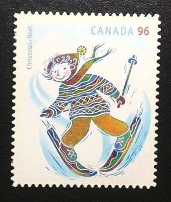 Canada #2294i Die Cut MNH, Christmas Skiing Stamp 2008