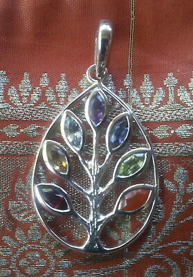 668 Tree of Life pendant Chakra gemstones Solid 925 Sterling Silver rrp$90