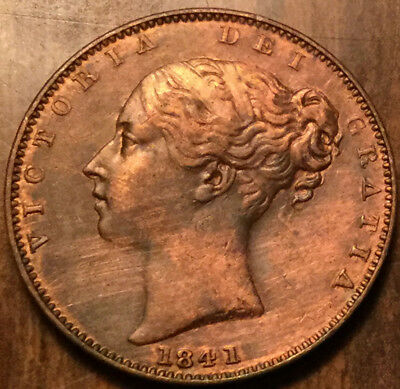 1841 GREAT BRITAIN VICTORIA FARTHING - Excellent example ! - Cleaned