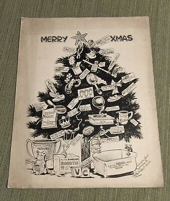 Vintage 1943 CHRISTMAS SPORTS DRAWING 13x17 Jeane Hoffman FEMALE CARTOONIST