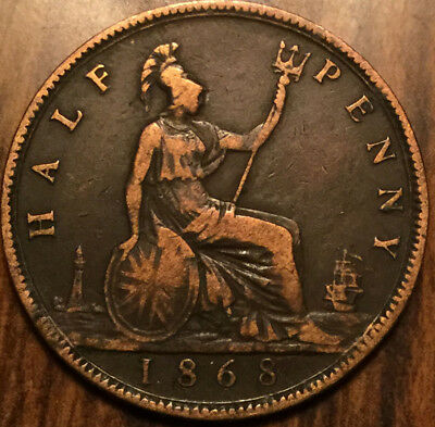 1868 UK GB GREAT BRITAIN VICTORIA HALFPENNY - Beautiful example !
