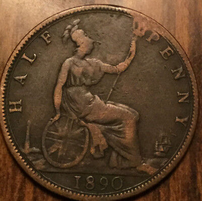 1890 Uk Gb Great Britain Victoria Halfpenny