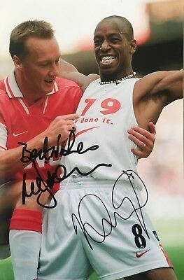 Ian Wright & Lee Dixon double signed Arsenal 12x8 photo UACC AFTAL RACC Dealer