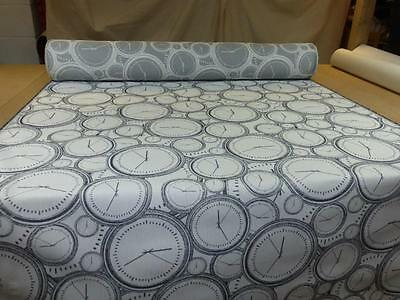 Job Lot - 10m length of CLOCK DESIGN Weave Upholstery Fabric in Grey & White