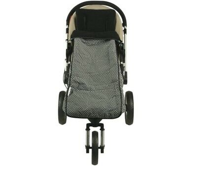 Keep Me Cosy Toddler Foot Muff attaches to Pram Liner Black and White Dots