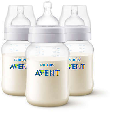 Philips Avent 3 X 260ml Classic Plus+ Triple pack 9oz Bottle Baby anti colic