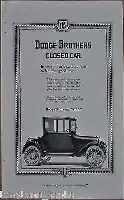 1917 DODGE BROTHERS advertisement, Dodge Closed Car, Coupe