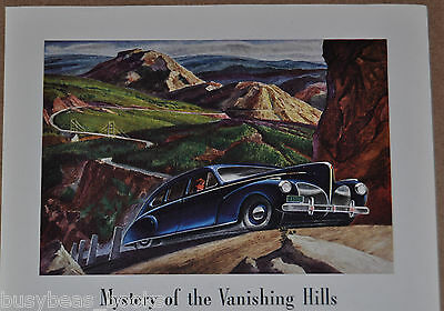 1941 Lincoln advertisement, LINCOLN ZEPHYR, color art, vanishing hills