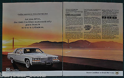 1981 CADILLAC 2-page advertisement, Cadillac V8-6-4 cylinder engine