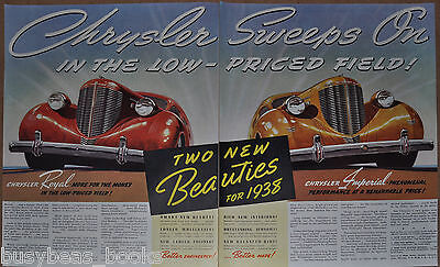1938 Chrysler 2-page advertisement, CHRYSLER Royal and Imperial, antique auto ad