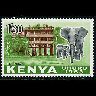 KENYA 1963 1s30 Elephant. SG 10. Mint Never Hinged. (CA571)