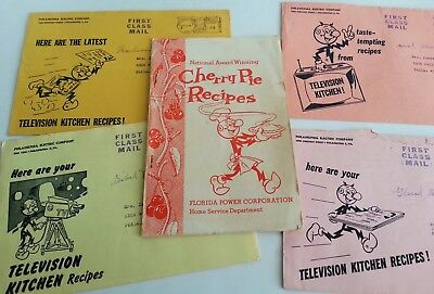 Reddy Kilowatt Cherry Pie & Television Kitchen Recipes Early TV 1950's 60's Lot