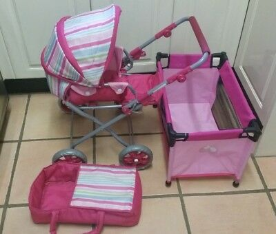 Kids pretend play doll pram, doll cot & doll carrycot bag.