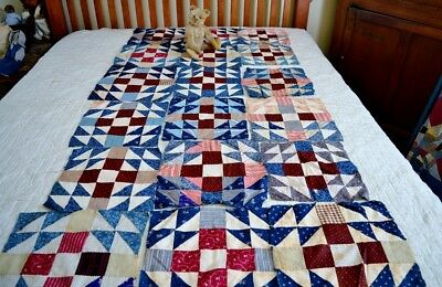 Collection of Eighteen Antique Hand Pieced Calico Quilt Blocks *