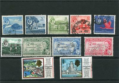 Trinidad & Tobago. 11 -- Early Qe2 Used Stamps On Stockcard
